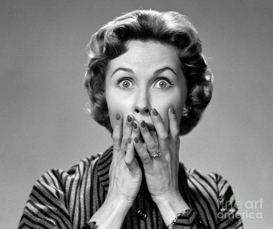 Shocked Woman, C.1950s Photograph by Debrocke/ClassicStock  Shocked Woman, ...