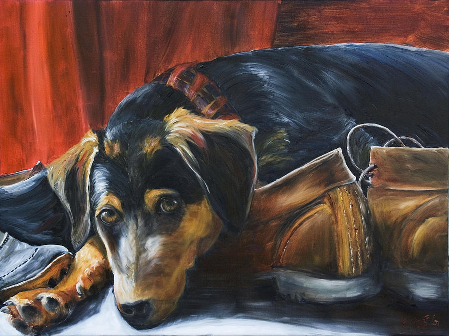 Dog Painting - Shoe Dog by Nik Helbig