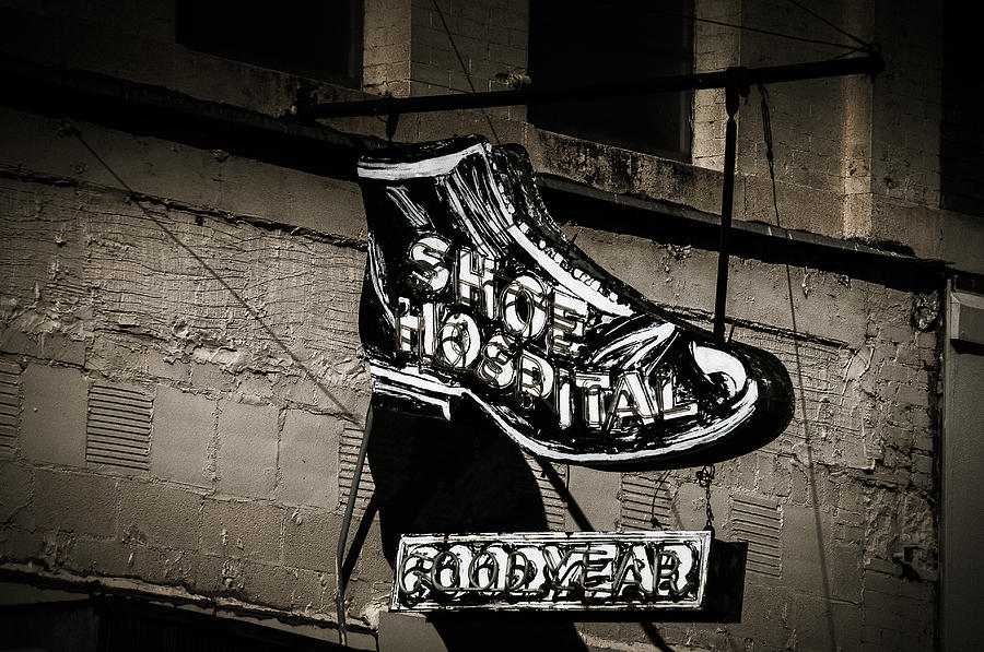 Neon Sign Photograph - Shoe Hospital by Phillip Burrow