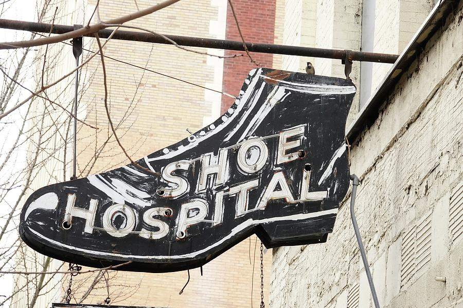 Advertising Photograph - Shoe Hospital Sign by Mitford Fontaine