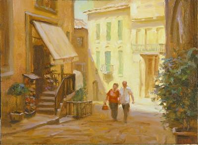 Tuscany Painting - Shoe Shopping Tuscany by Tony Bianco