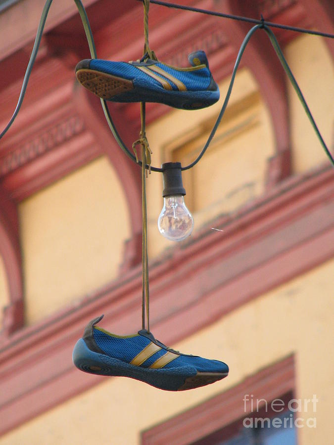 Shoes Photograph - Shoes Hanging by Jeff White