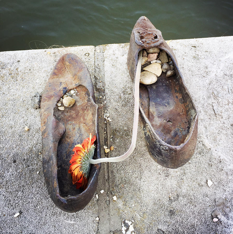 Shoes Photograph - Shoes On The Danube Bank - Memorial In Budapest by Matthias Hauser