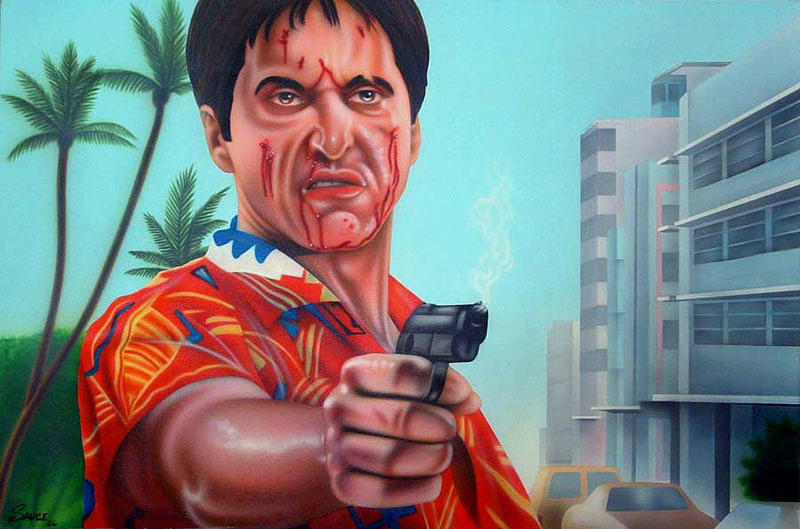 Tony Montana Painting - Shoot Out On Ocean Drive by Brett Sauce