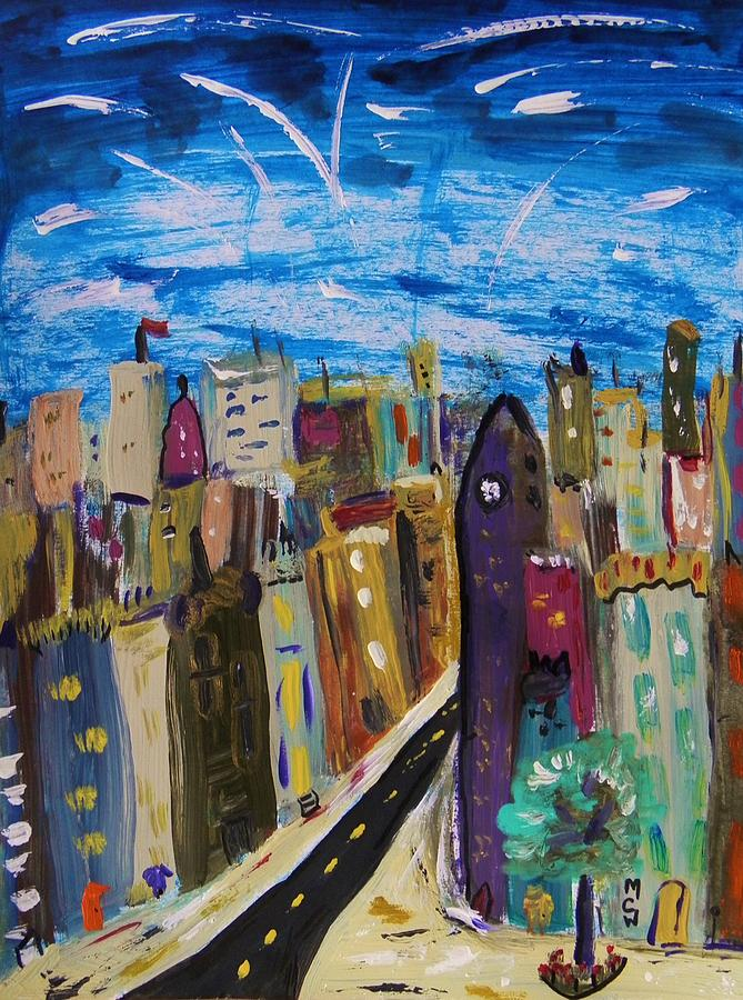 Acrylic Painting - Shooting Stars Over Old City by Mary Carol Williams