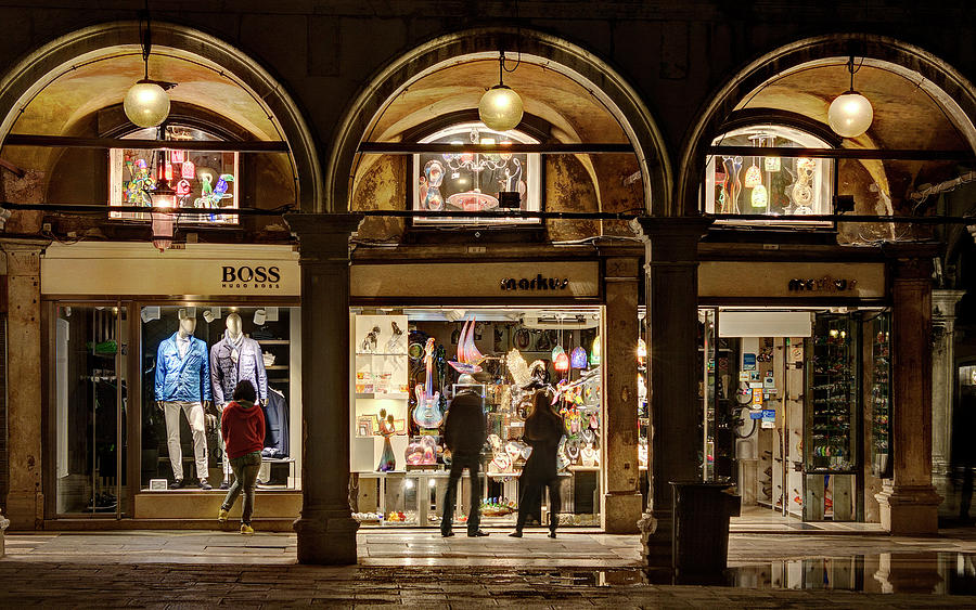 Venice Photograph - Shop Windows At Night On Piazza San Marco - Venice by Barry O Carroll