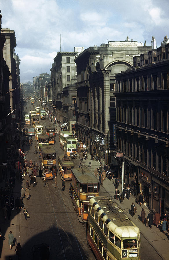 Outdoors Photograph - Shoppers And Trams Clog Renfield Street by B. Anthony Stewart