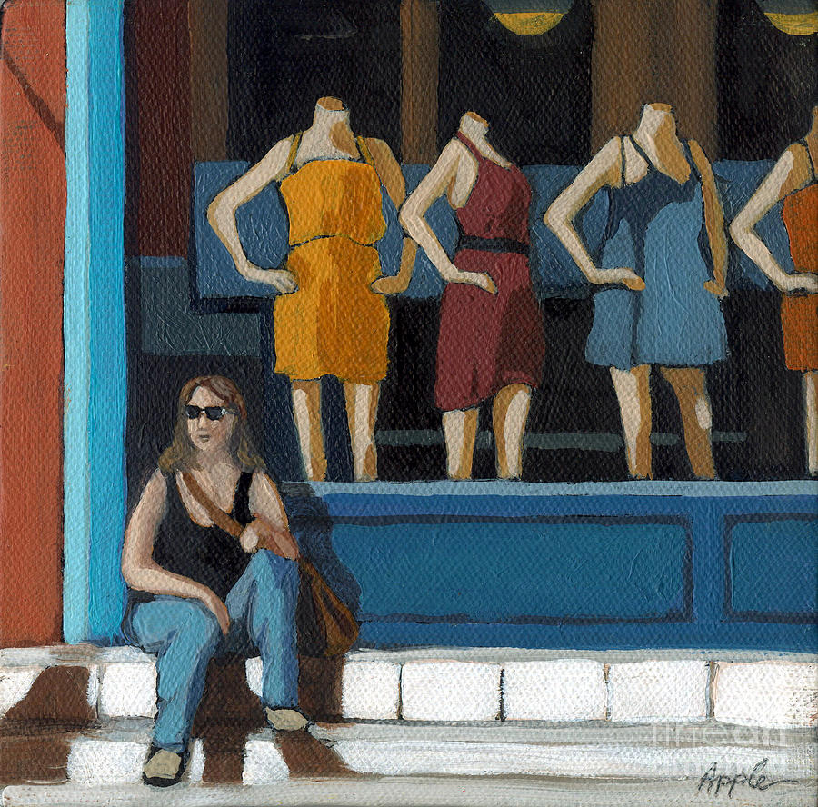 Woman Painting - Shopping Break by Linda Apple