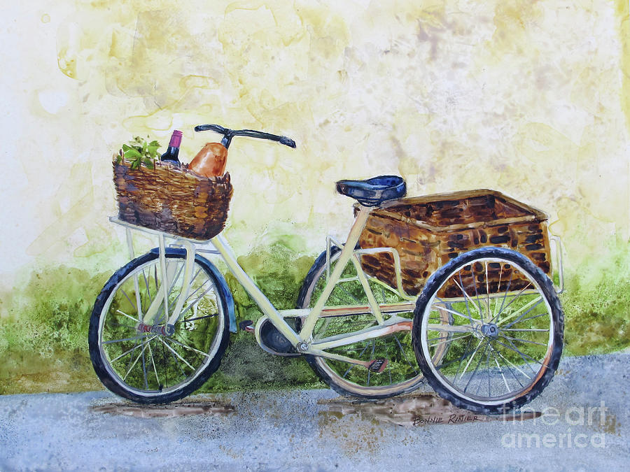 Bicycle Painting - Shopping Day In Lucca Italy by Bonnie Rinier