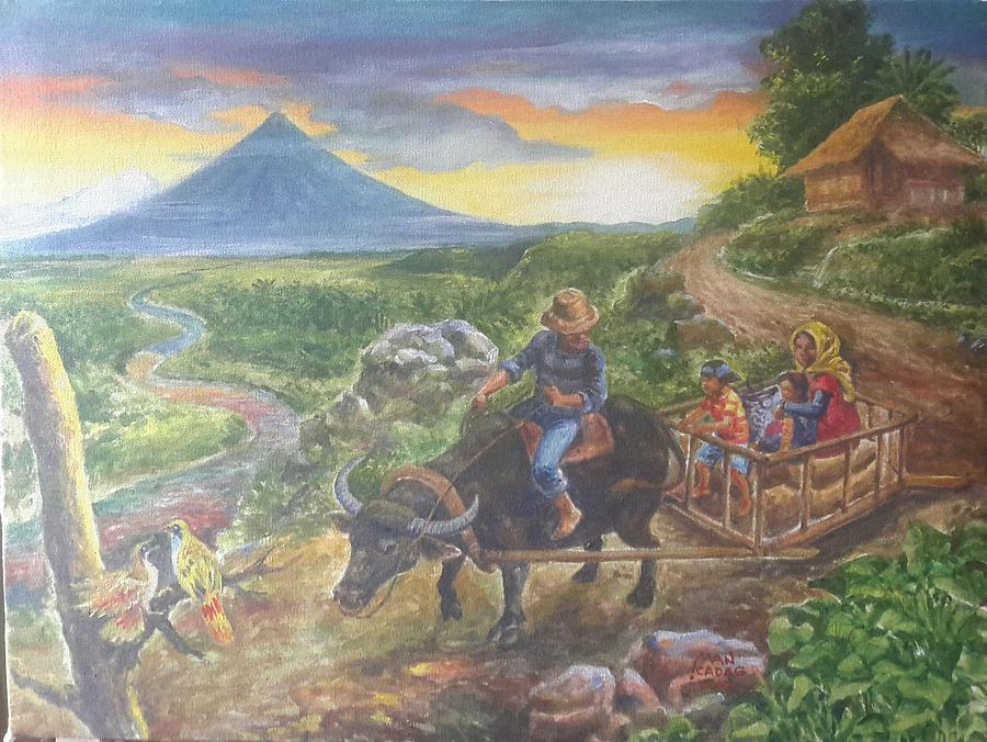 Mayon Painting - Shopping Family In Mall by Manuel Cadag