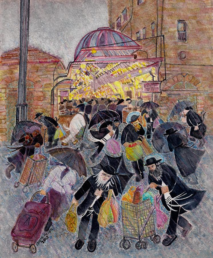 Shabbat Painting - Shopping In The  Shouk For Shabbat, Jerusalem by Chana Helen Rosenberg