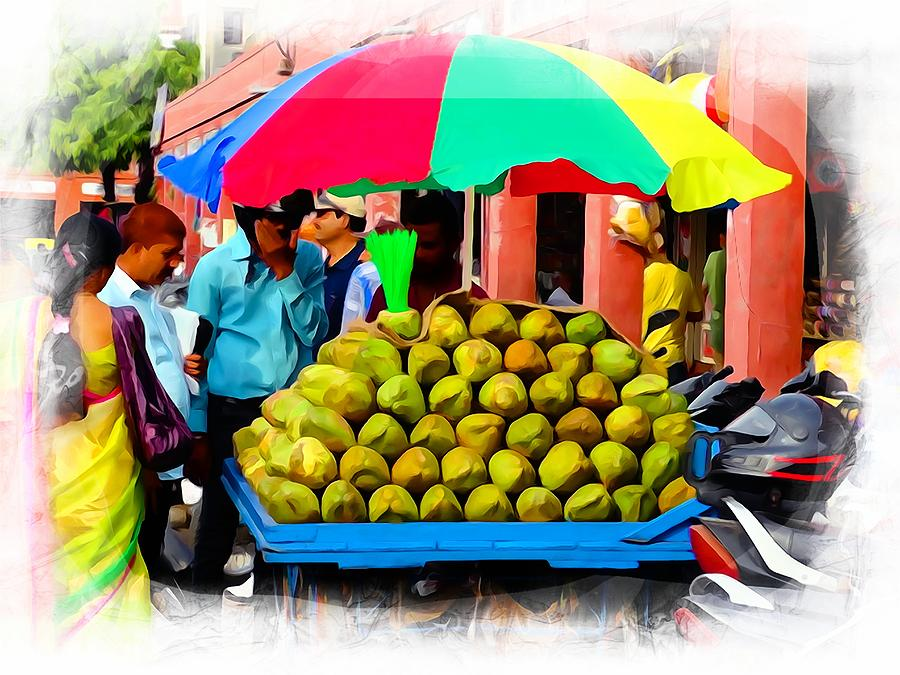 3cbafb25f441 Shopping Market Coconuts Exotic Travel Street Scenes Rajasthan India Series  2