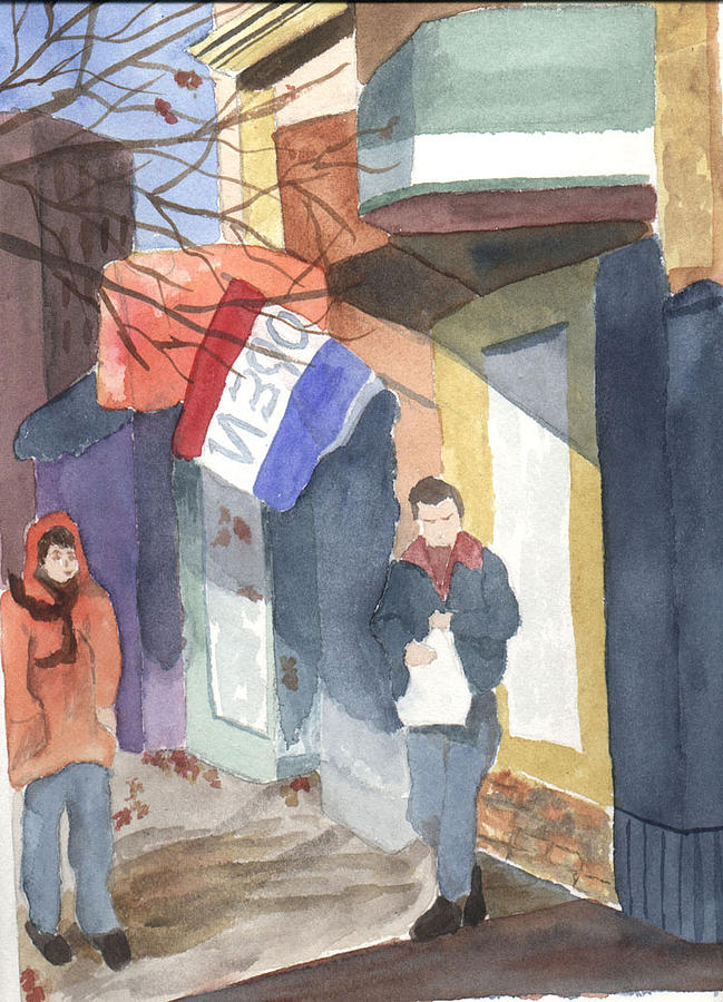 Shopping Painting - Shopping On Exchange Street by Jane Croteau