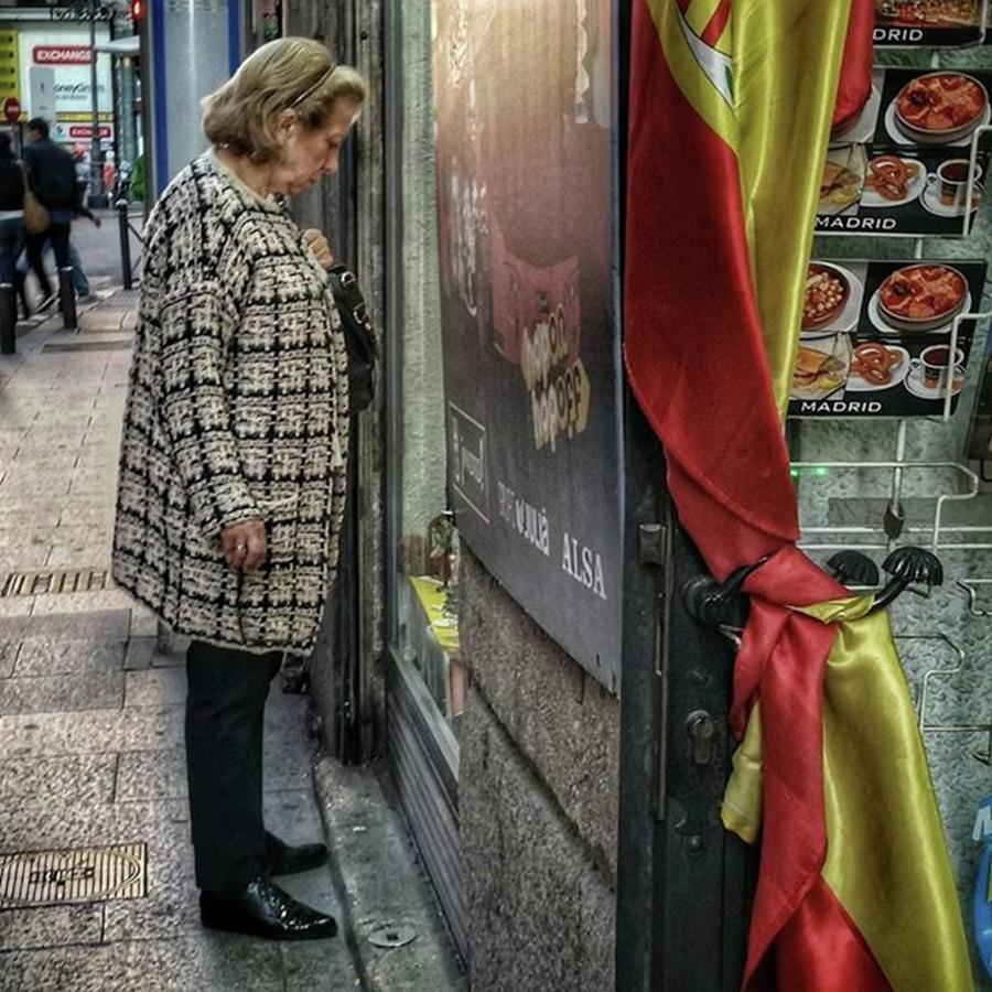 Flag Photograph - Shopping #streetphotography #flag by Rafa Rivas