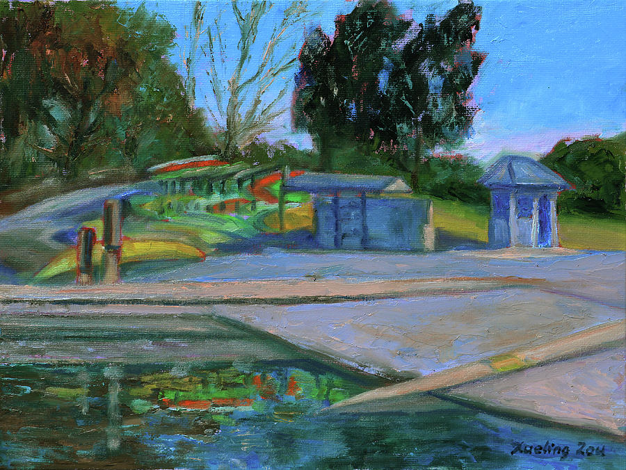 Shore line Lake Boathouse California Landscape 11 by Xueling Zou