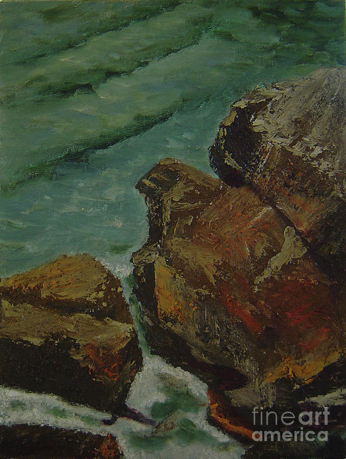 Coast Painting - Shore Rocks by Lilibeth Andre