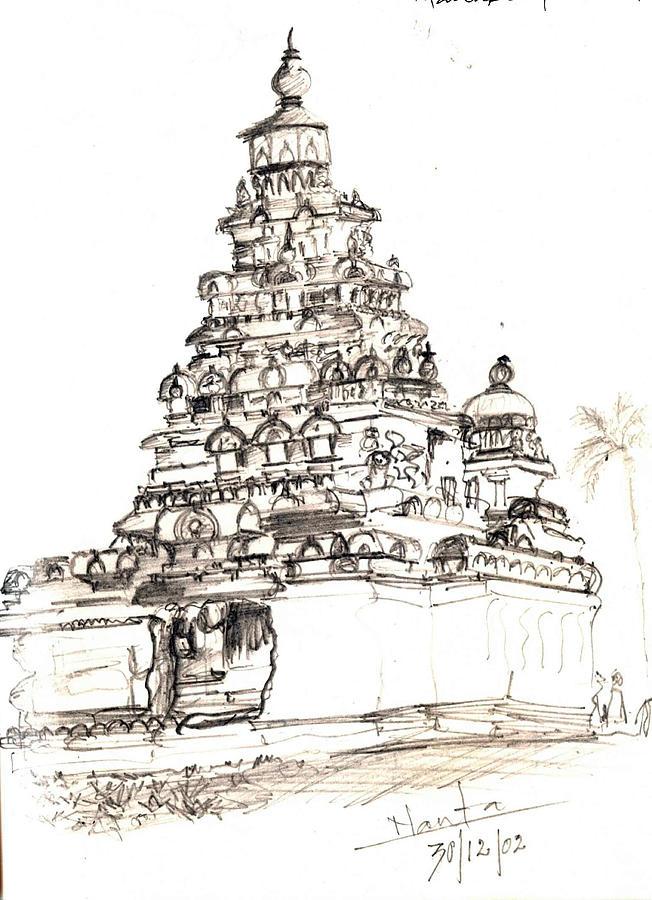 Shore Temple Drawing - Shore Temple  by KaramChand Nanta