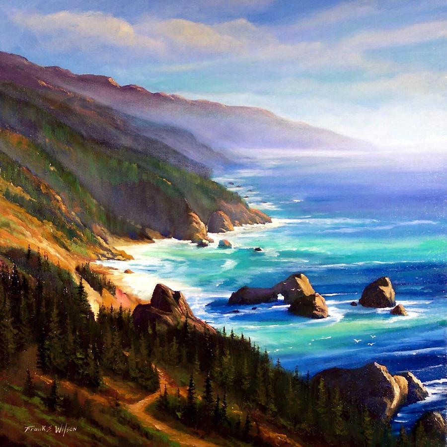 Seascape Painting - Shore Trail by Frank Wilson