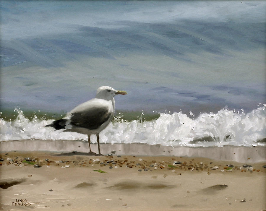 Seagull Painting - Shoreline Breeze by Linda Tenukas