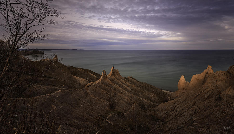 Chimney Bluffs Photograph - Shoreline Sentries by Everet Regal