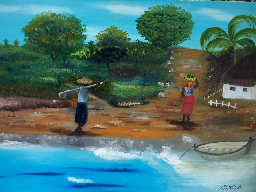 Haitian Painting - Shortcut By The Beach by Nicole Jean-Louis