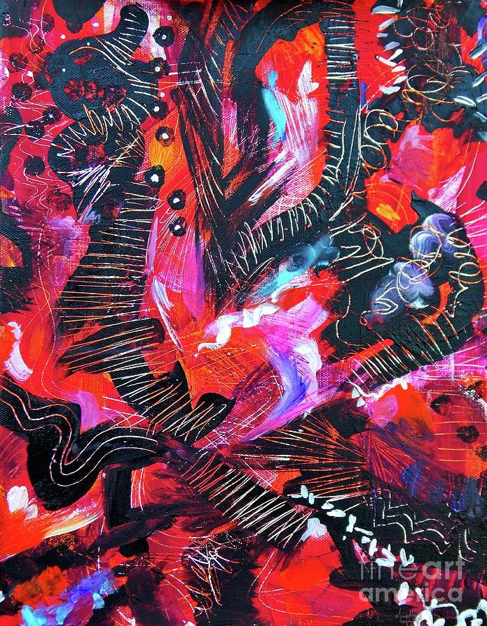 Orange Painting - Shots in the Dark  by Priscilla Batzell Expressionist Art Studio Gallery