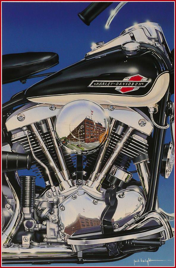 Shovelhead Motor Painting by Jack Knight