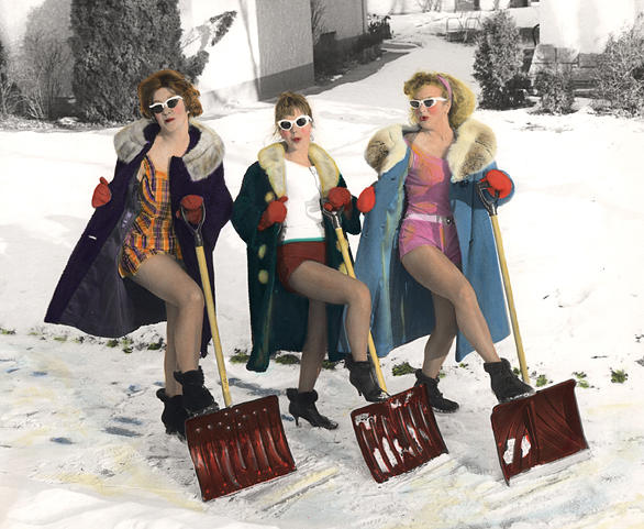 Retro Photograph - Shoveling Gals by Kelly Povo