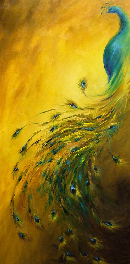 Peacock Painting - Show Off 1 Vertical Peacock by Dina Dargo