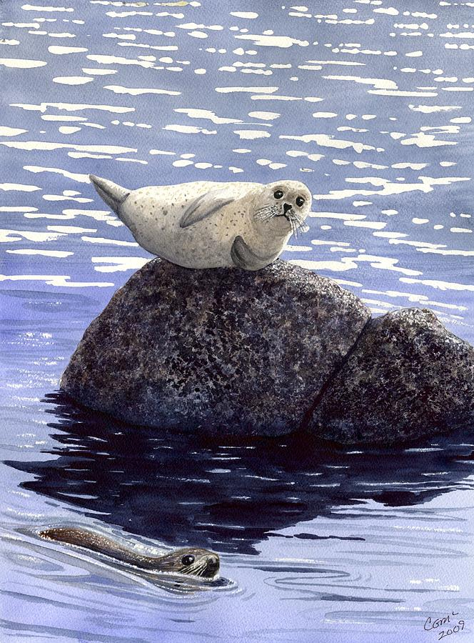 Seal Painting - Show Off by Catherine G McElroy