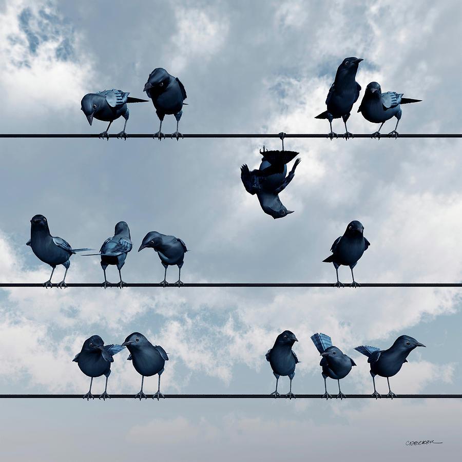Crow Digital Art - Show Off by Cynthia Decker
