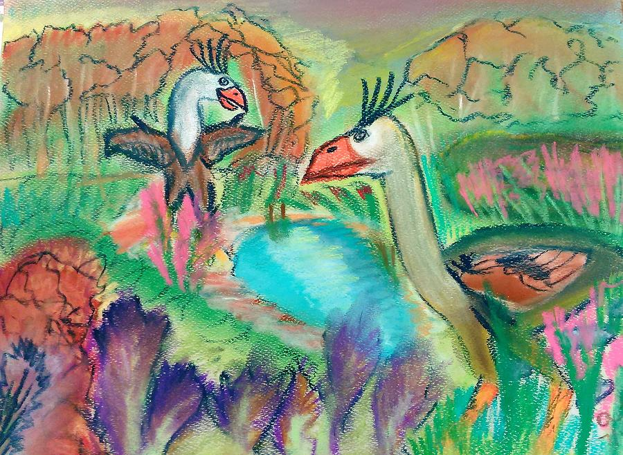 Phorusrhacos Pastel - Showdown At The Watering Hole by Andrew Blitman