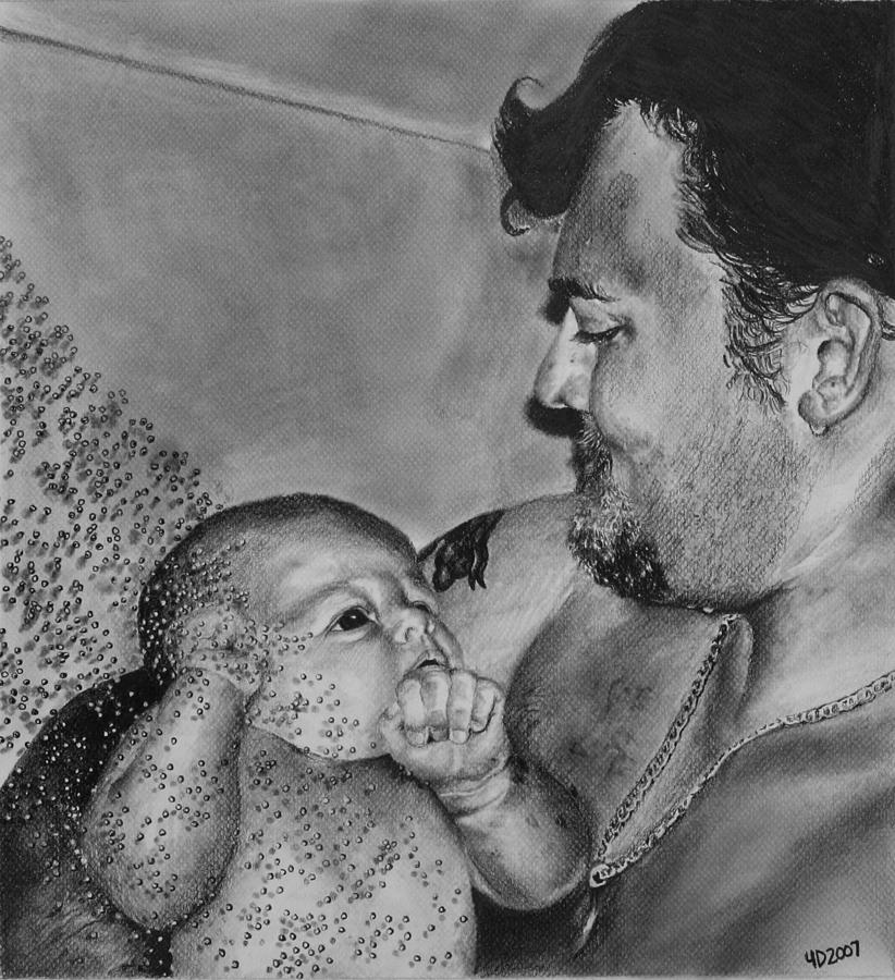 Figure Drawing - Showered in Daddys Love by Darcie Duranceau