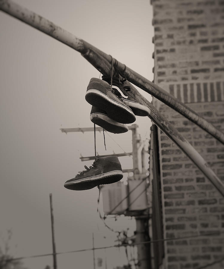 Shoes Photograph   Shoes On A Lamp Post By Larry Jost