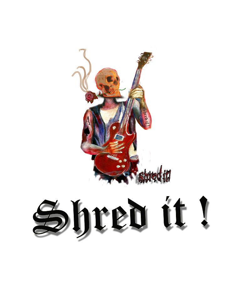 Guitar Painting - Shred It Skull Guitarist Version 2 by Tom Conway