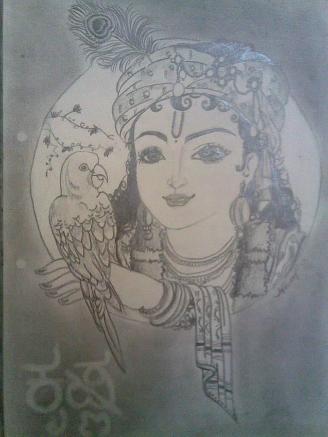 Shri Krishna Drawing by Nischitha Shenoy
