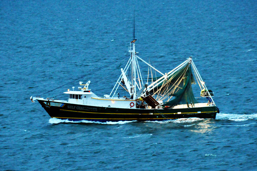 Waterfowl Photograph - Shrimp Boat In The Gulf by Bill Perry