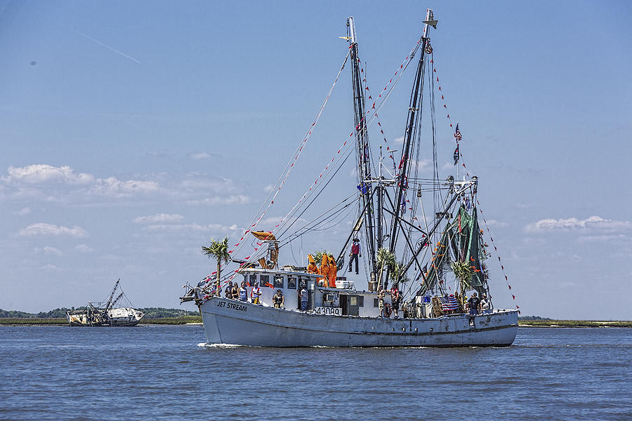 The Face Of God Photograph - Shrimp Boat Parade Of The Shrimp Festival by Paula Porterfield-Izzo