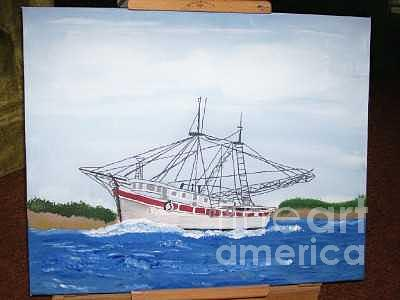 Shrimp Boat Painting by Robin Hester