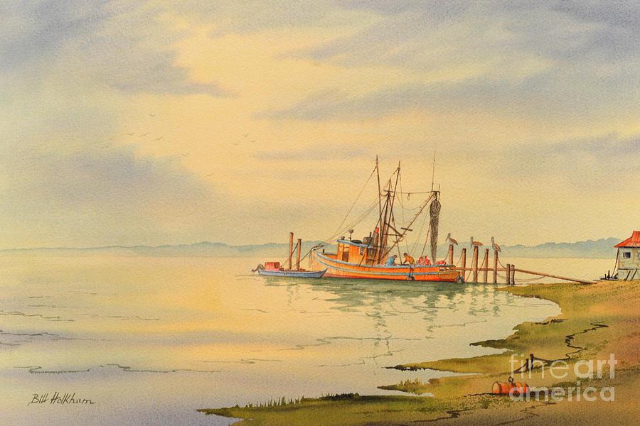 Shrimp Painting - Shrimp Boat Sunset by Bill Holkham