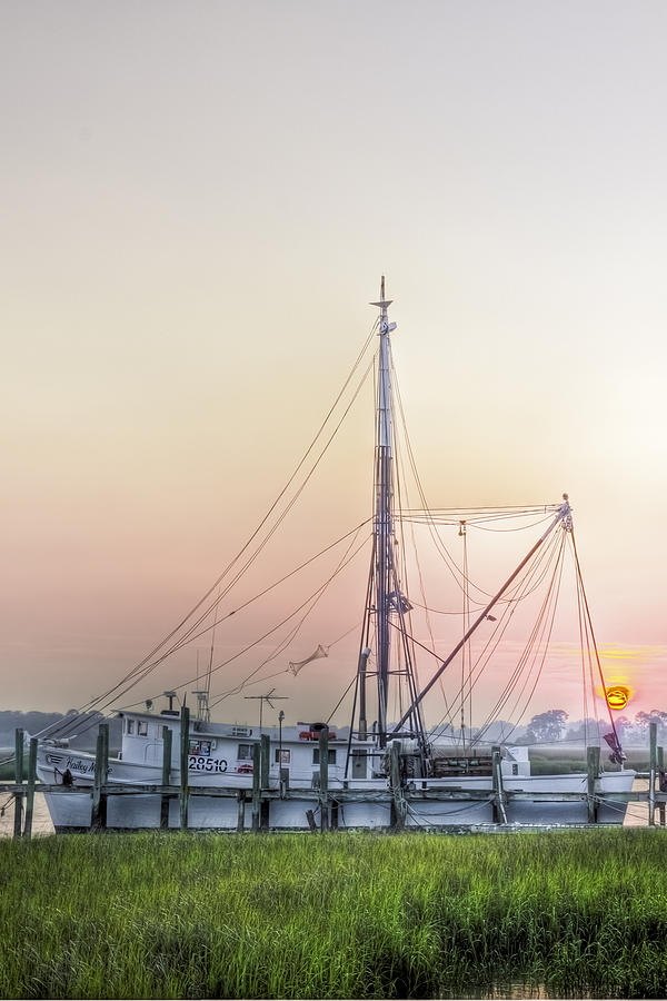 Marsh Photograph - Shrimp Boat Sunset by Drew Castelhano