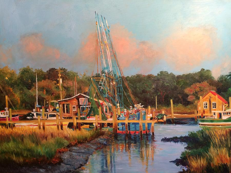 Shrimp Boats At Rest Painting By Kathy Seay