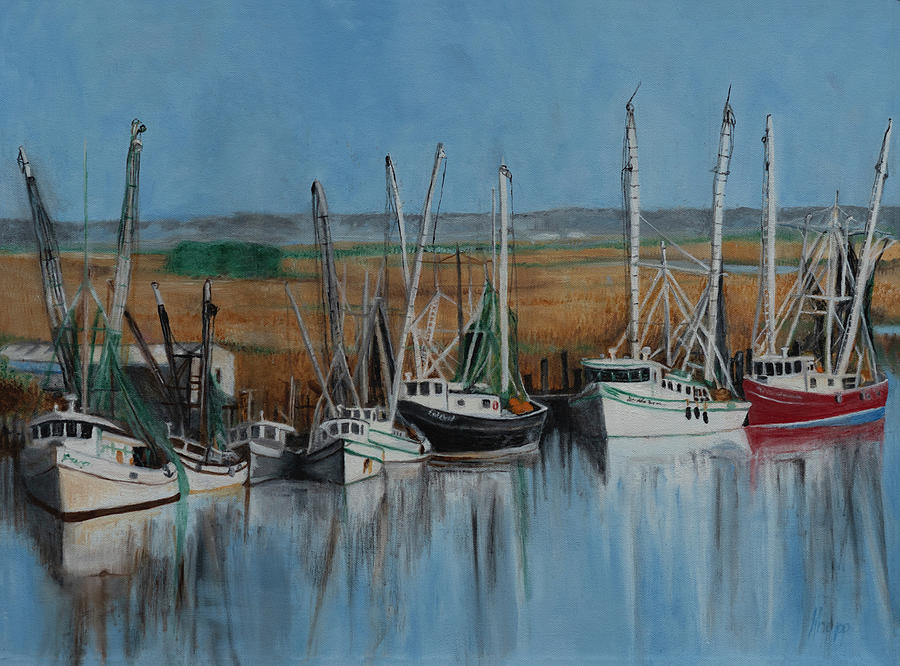 Shrimp Boats of Darien, Ga by Kathy Knopp