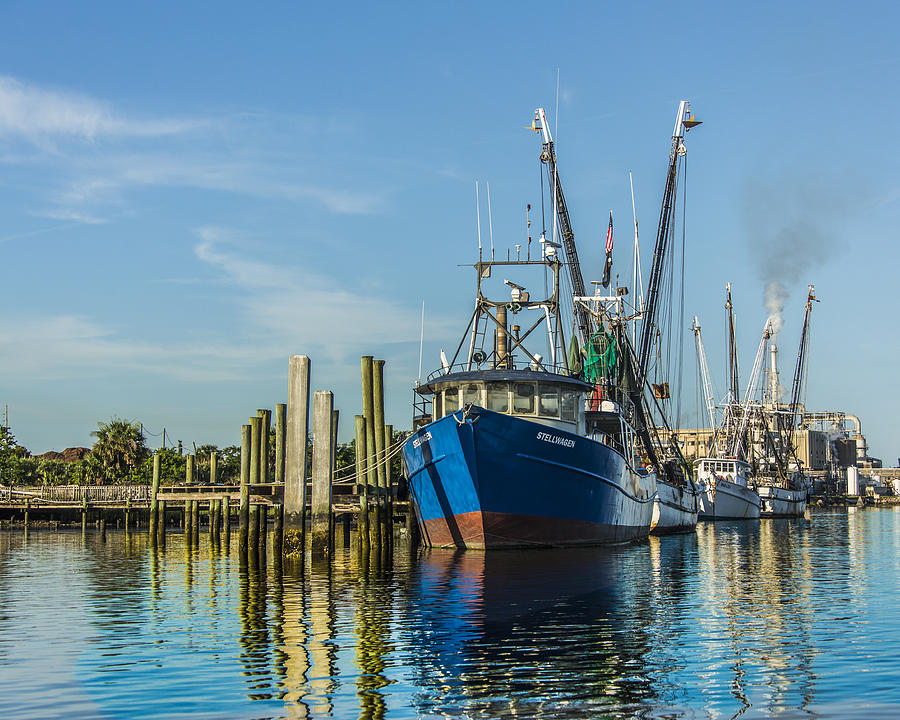 The Face Of God Photograph - Shrimp Boats Waiting by Paula Porterfield-Izzo