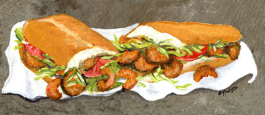 Shrimp Painting - Shrimp On French Dressed by Elaine Hodges