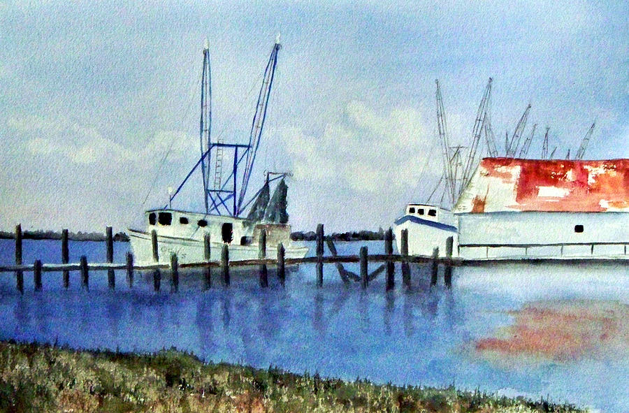 Shrimpboat Painting - Shrimpboats At Dock by Carol Sprovtsoff