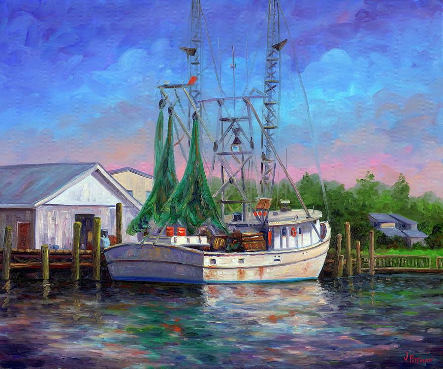 Shrimp Boat Painting - Shrimper At Harbor by Jeff Pittman