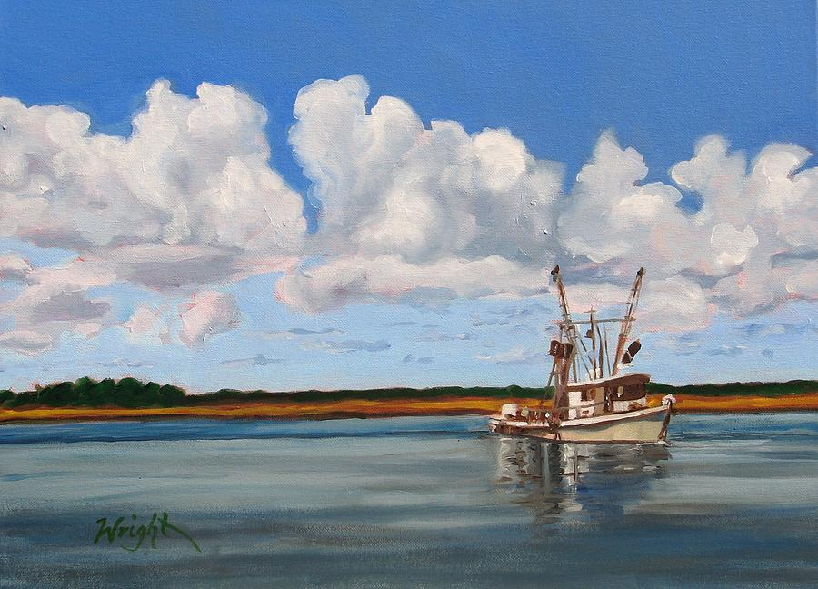 Boat Painting - Shrimper by Molly Wright