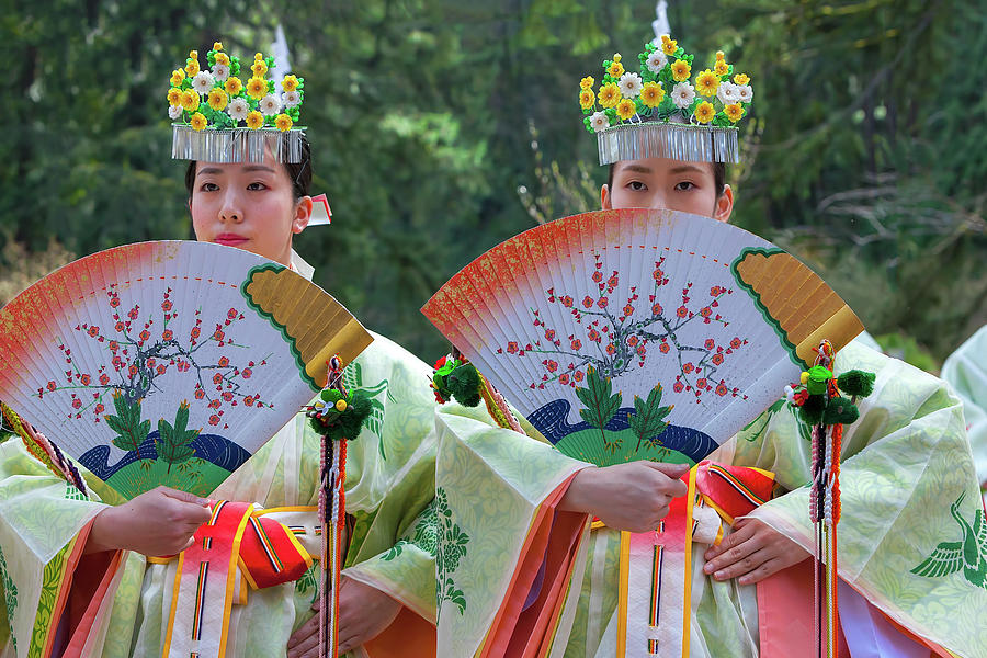 Shinto Photograph - Shrine Maidens from Tsurugaoka Hachimangu Shrine by David Gn