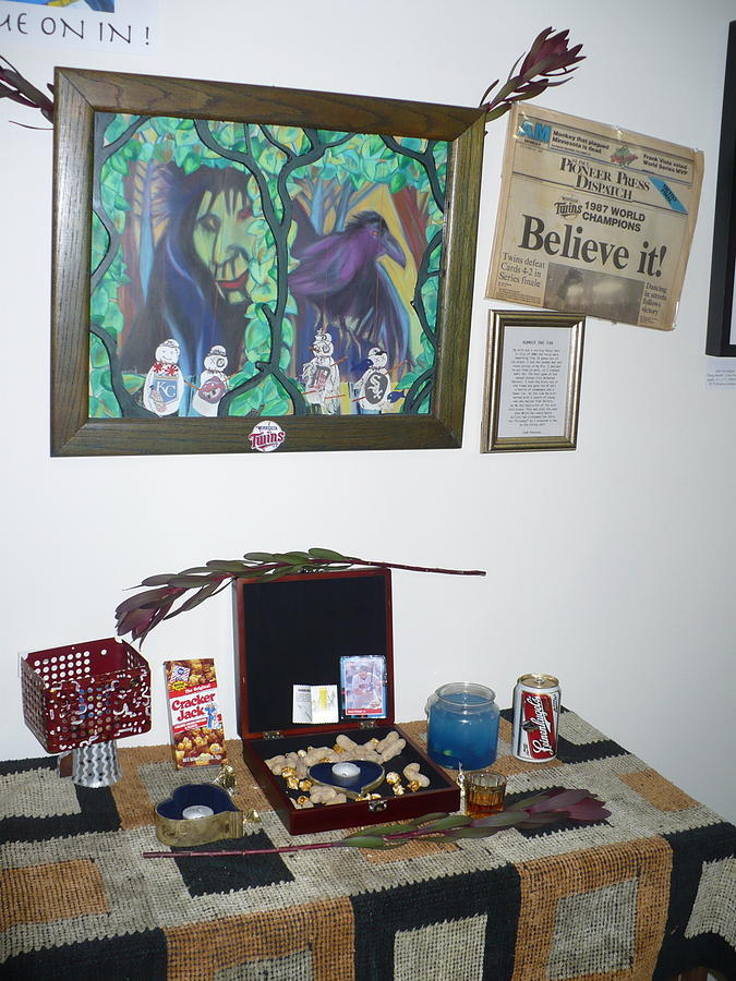 Mixed Media Mixed Media - shrine  number one Twins fan by Todd Peterson